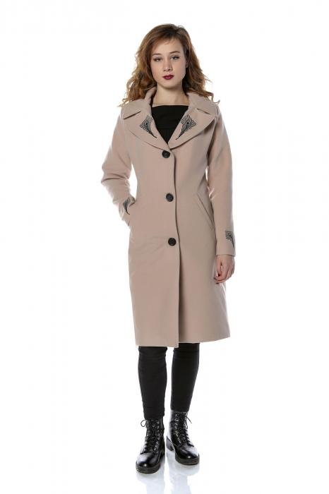 Palton dama din stofa roz pudra cu broderie PF28, M 0