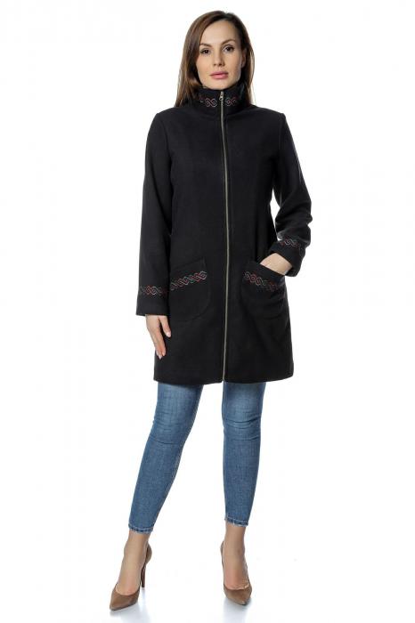 Palton negru dama din stofa cu fermoar PF30 0