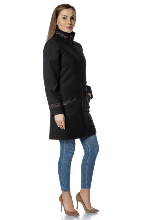 Palton negru dama din stofa cu fermoar PF30 1