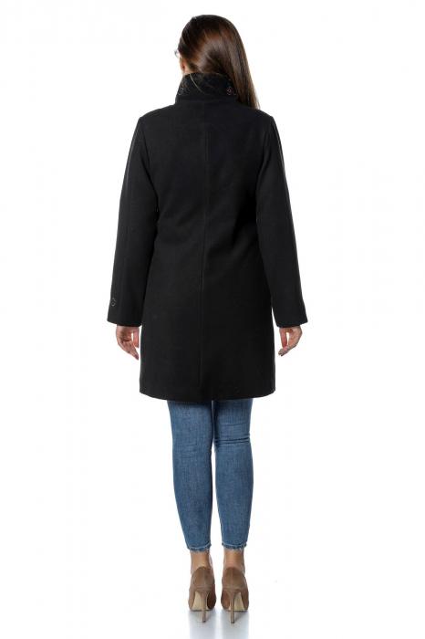 Palton negru dama din stofa cu fermoar PF30 2