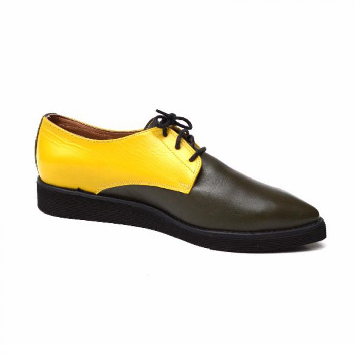 Pantofi dama Oxford din piele naturala Yellow Mirror 0