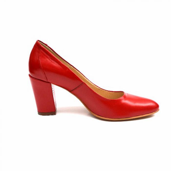 Pantofi cu toc gros din piele naturala Red Wish 0