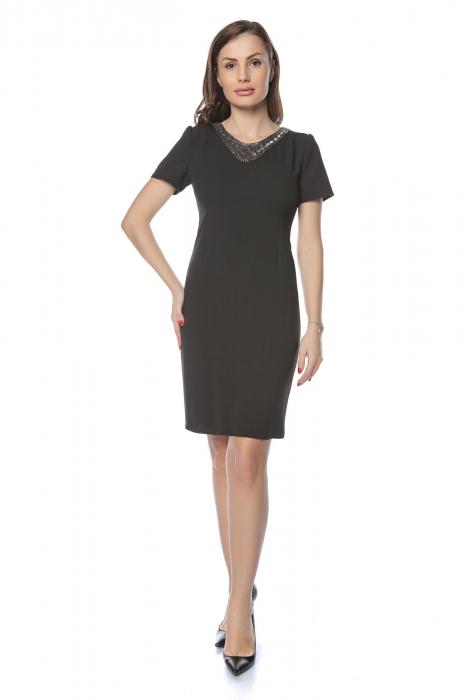 Rochie dama eleganta neagra cu aplicatie margele la gat RO237 0