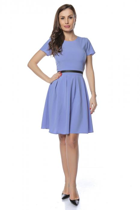 Rochie dama casual bleu cu aplicatie piele ecologica in talie RO238 0