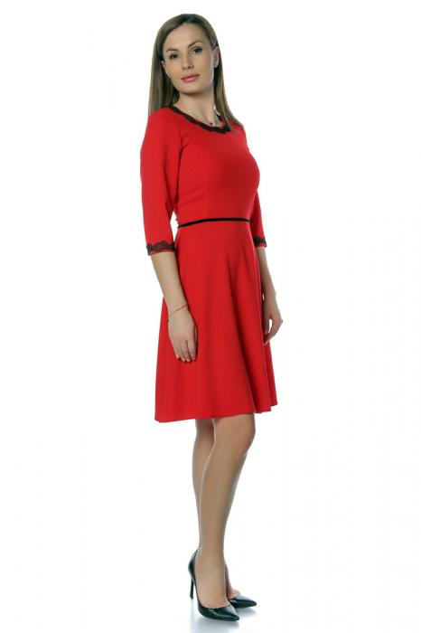 Rochie casual rosie cu dantela aplicata RO266 2