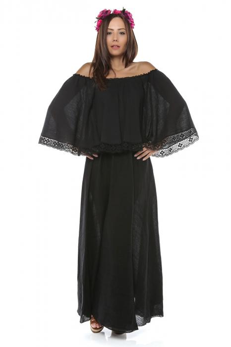 Rochie dama din panza topita Fluture Negru 0