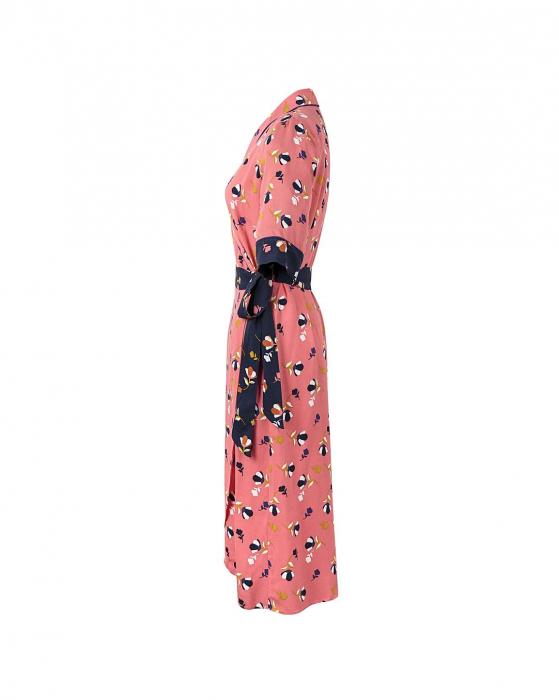 Rochie petrecuta roz cu imprimeu floral si maneci scurte 5