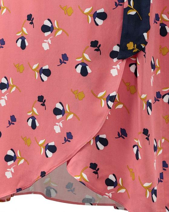 Rochie petrecuta roz cu imprimeu floral si maneci scurte 6