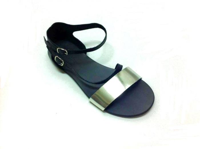 Sandale dama din piele Black and Silver Anna 0