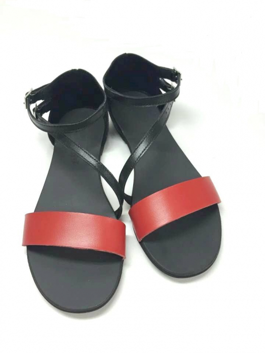 Sandale dama din piele Black and Red Anna 0