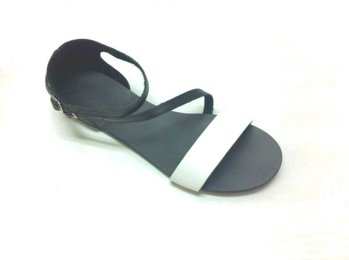Sandale dama din piele Black and White Anna 0