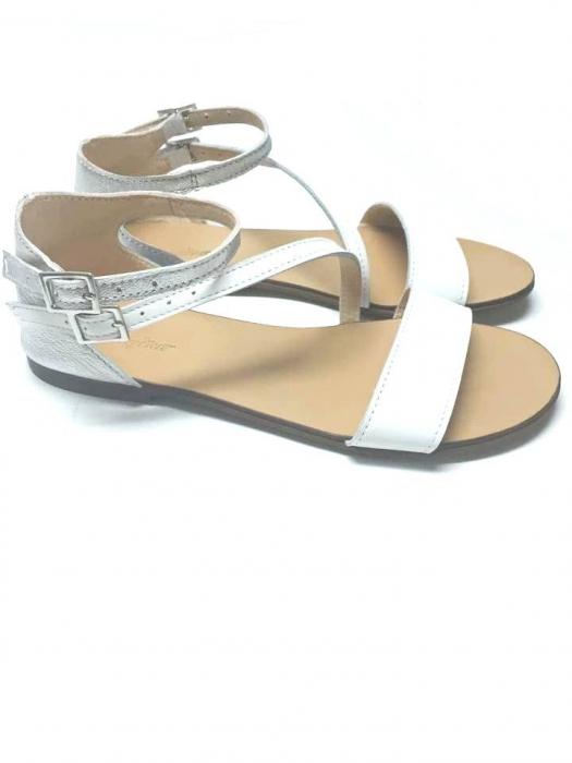 Sandale dama din piele White and Silver Anna 0