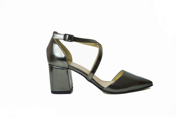 Pantofi din piele naturala cu toc gros Shiny Silver 0