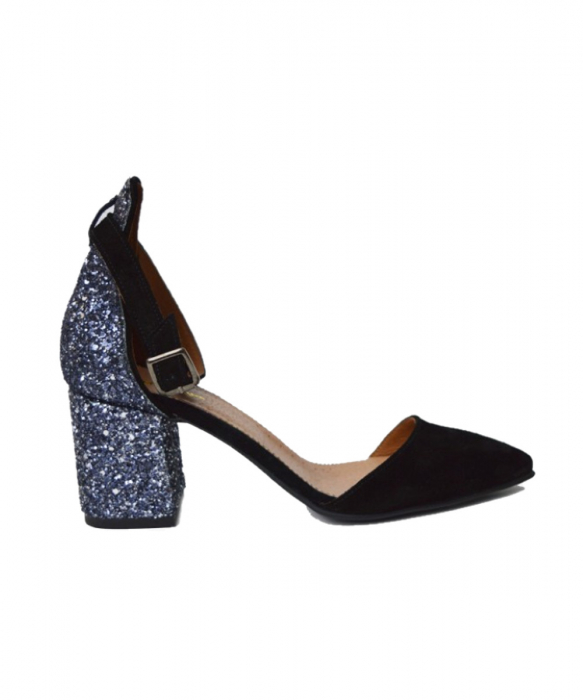 Pantofi din piele naturala cu toc gros Black Glitter 0