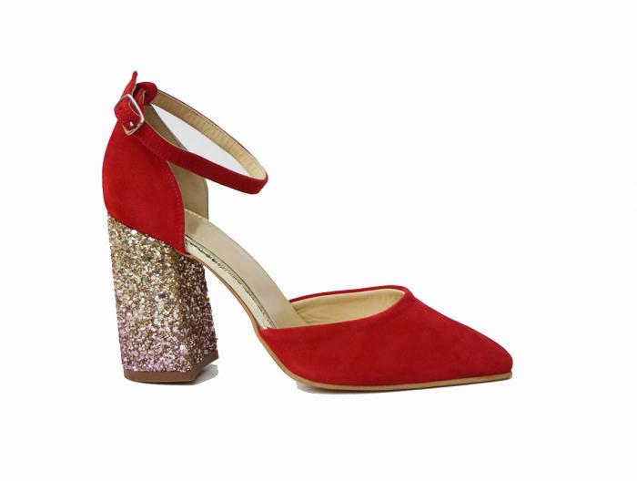 Pantofi din piele naturala cu toc gros Red Glitter 0