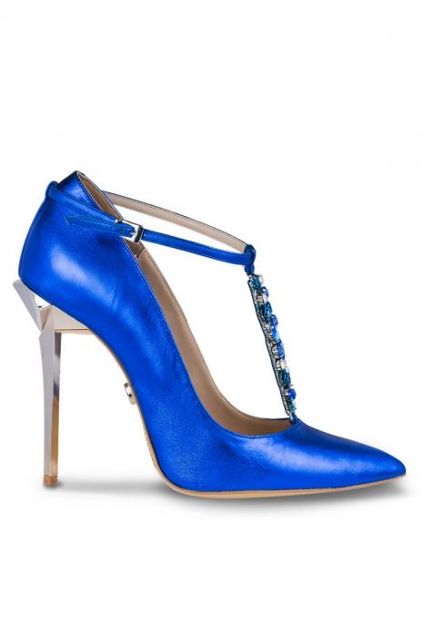 Pantofi Mihai Albu din piele metalizata Blue Stealth T 0