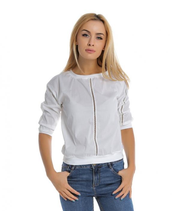 Bluza casual alba cu aplicatie de dantela perforata B107, L 0