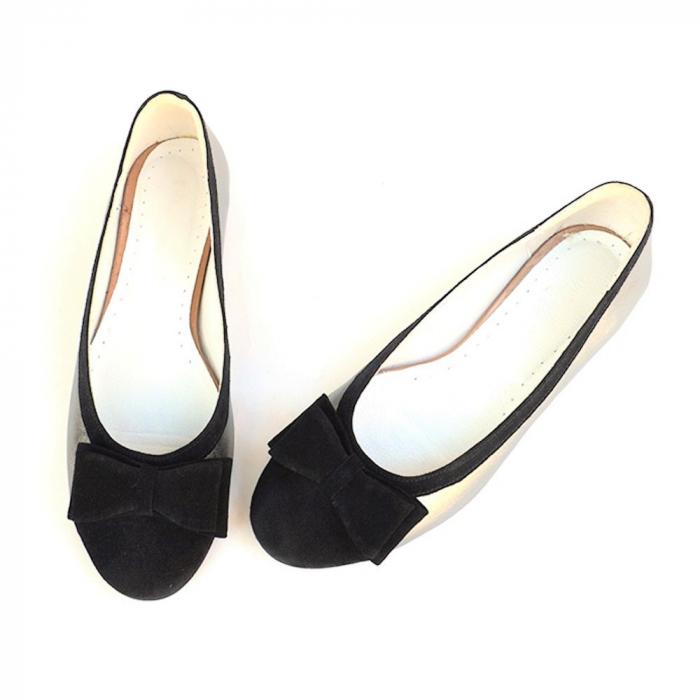 Balerini dama din piele Silver Black Bow 2