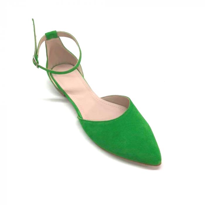 Balerini dama din piele intoarsa Green Lara 3