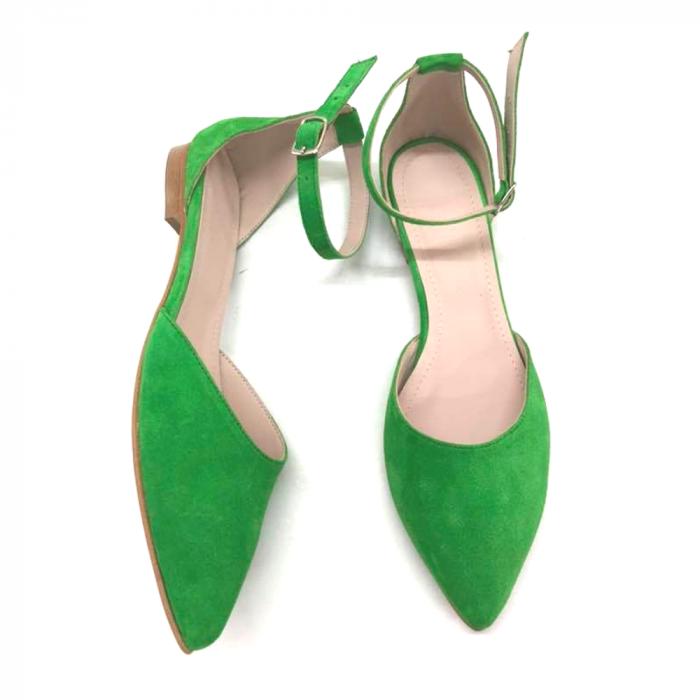 Balerini dama din piele intoarsa Green Lara 0