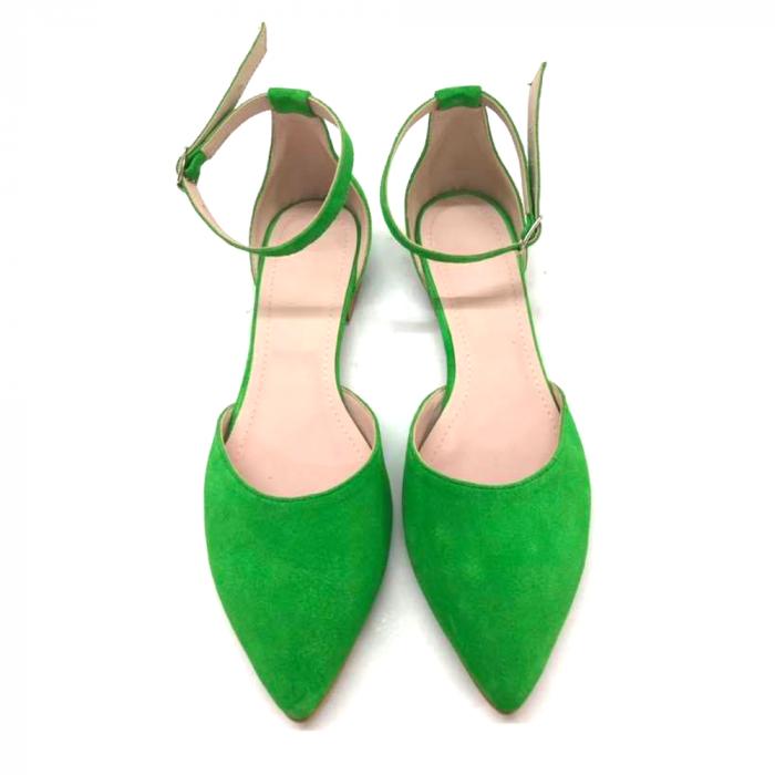 Balerini dama din piele intoarsa Green Lara 1