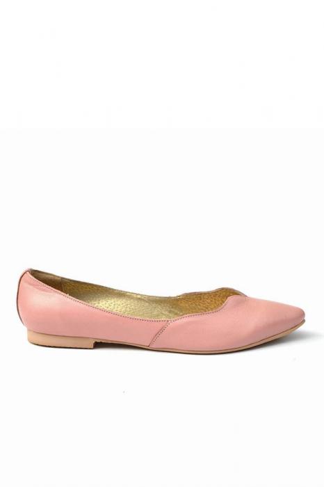 Balerini dama din piele Pale Pink 0