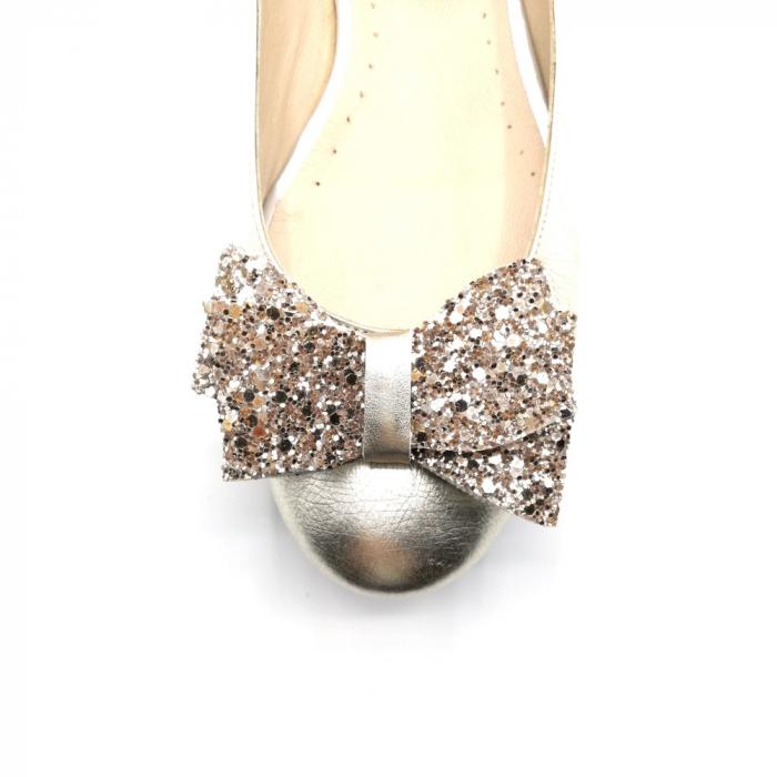 Balerini dama din piele Gold Glitter Bow 3