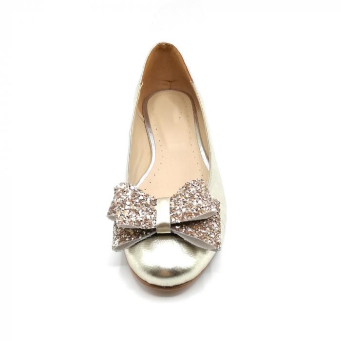 Balerini dama din piele Gold Glitter Bow 2