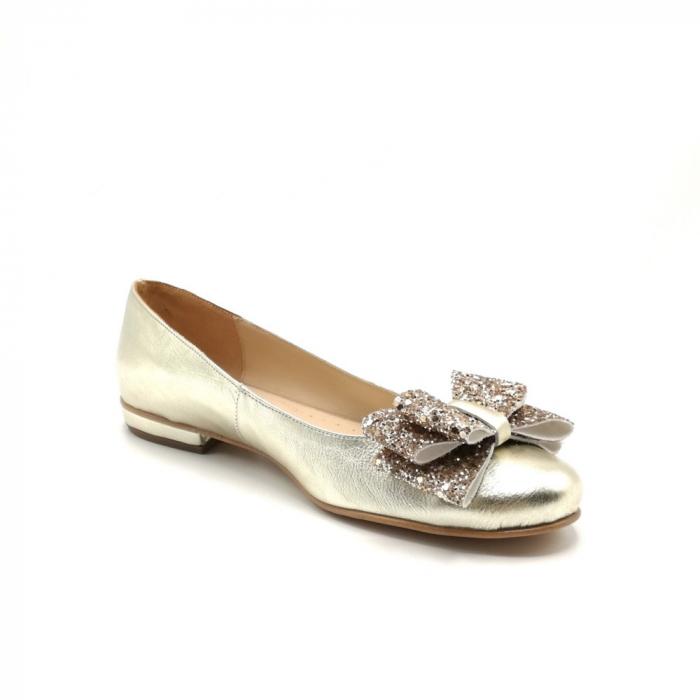 Balerini dama din piele Gold Glitter Bow 4