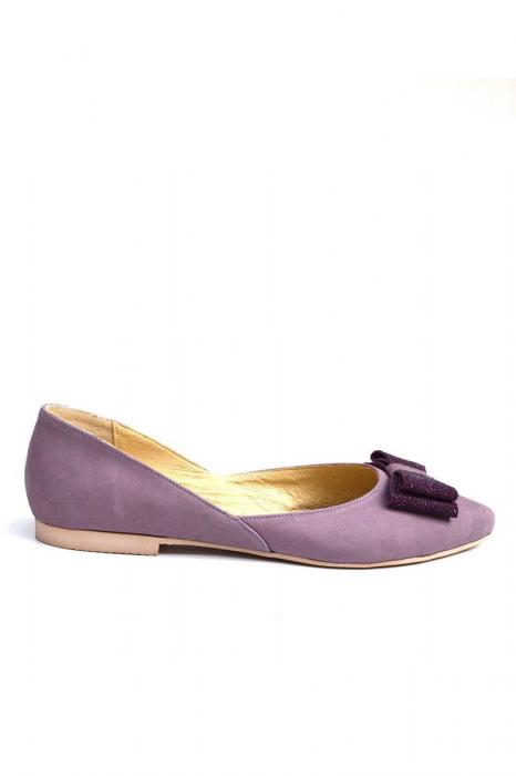 Balerini dama din piele intoarsa Purple Bow 0