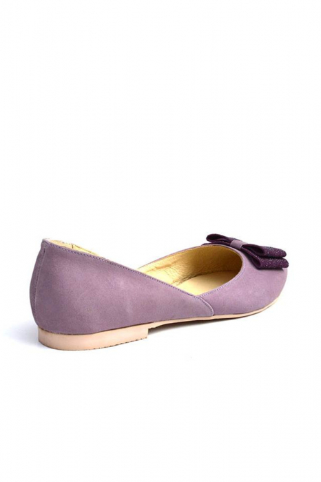 Balerini dama din piele intoarsa Purple Bow 1