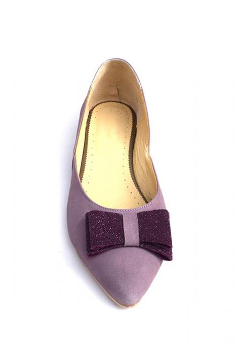 Balerini dama din piele intoarsa Purple Bow 2