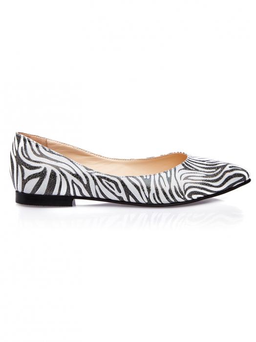 Balerini dama din piele naturala cu imprimeu zebra Francesca 0
