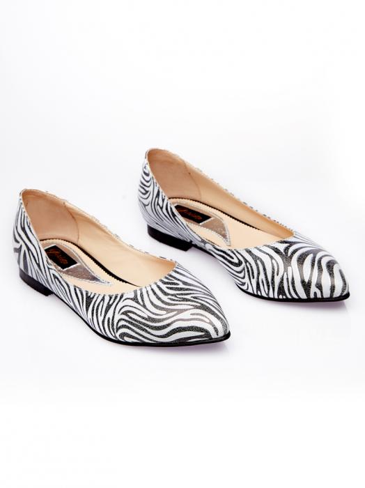 Balerini dama din piele naturala cu imprimeu zebra Francesca 1