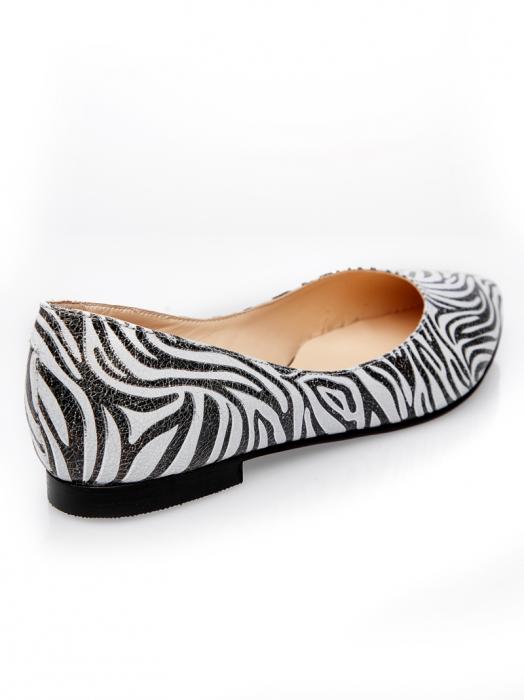 Balerini dama din piele naturala cu imprimeu zebra Francesca 2