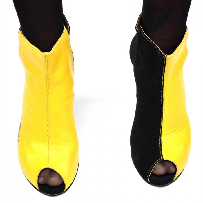 Botine dama din piele in doua culori Yellow Black 1