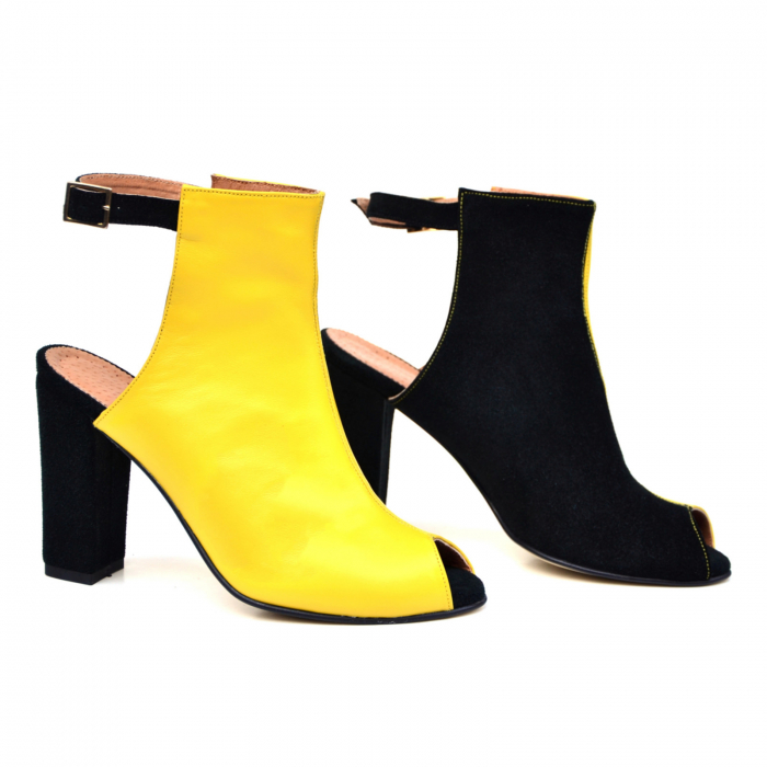 Botine dama din piele in doua culori Yellow Black 3