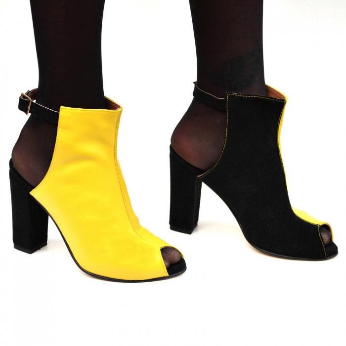 Botine dama din piele in doua culori Yellow Black 0