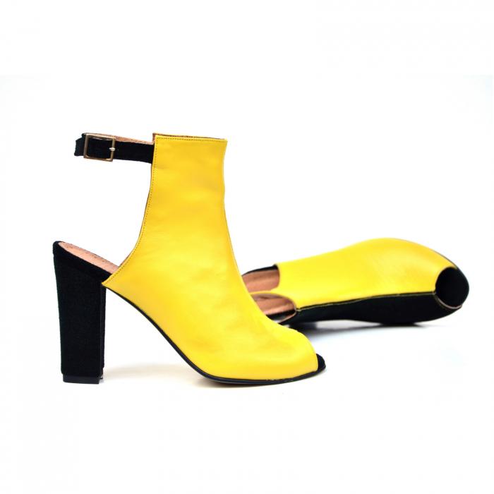 Botine dama din piele in doua culori Yellow Black 2
