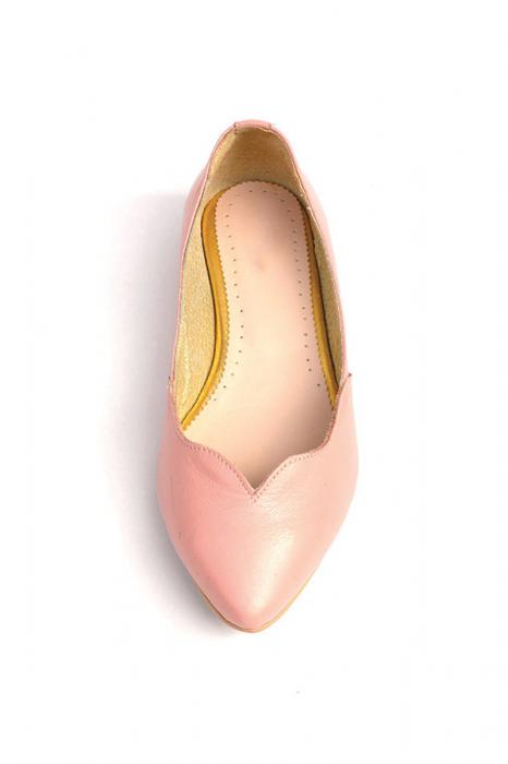 Balerini dama din piele Pale Pink 2