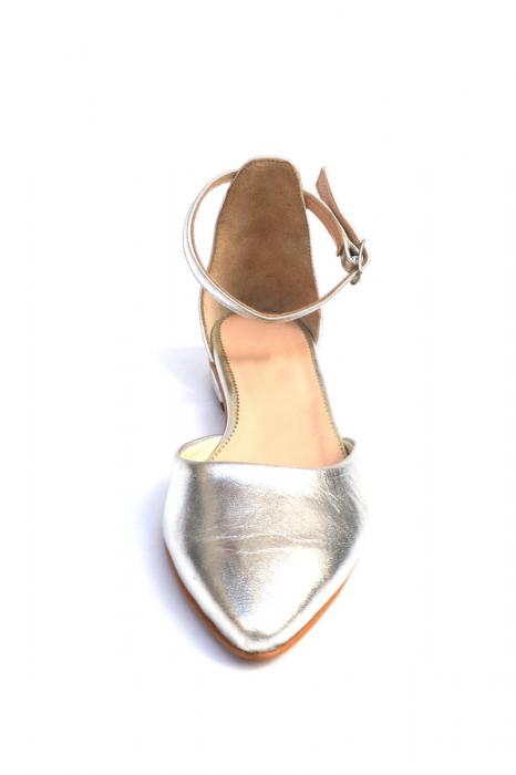 Balerini dama din piele Silver 2