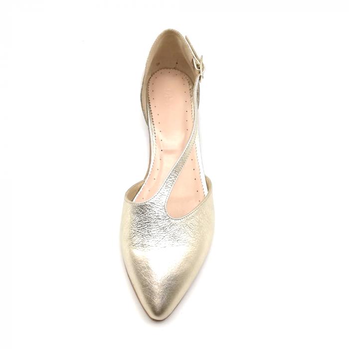 Balerini din piele naturala Gold Texture 2