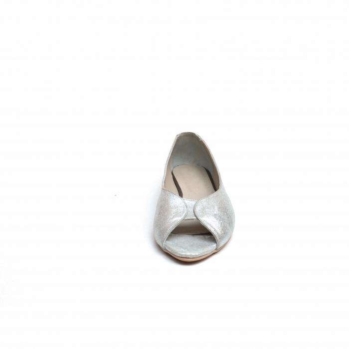 Balerini dama din piele texturata Silver 1