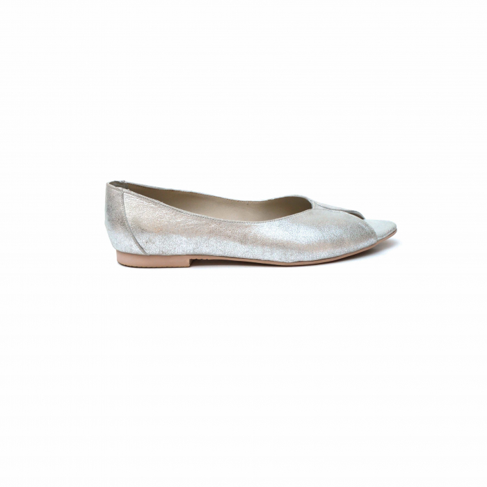 Balerini dama din piele texturata Silver 0