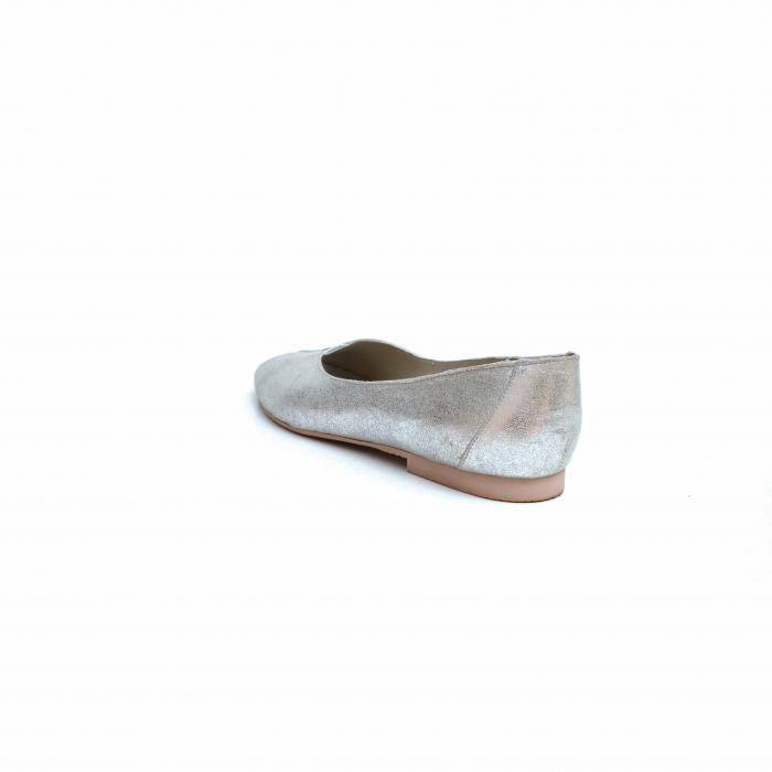 Balerini dama din piele texturata Silver 2