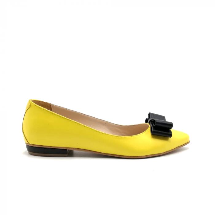 Balerini dama din piele Yellow Bow 0