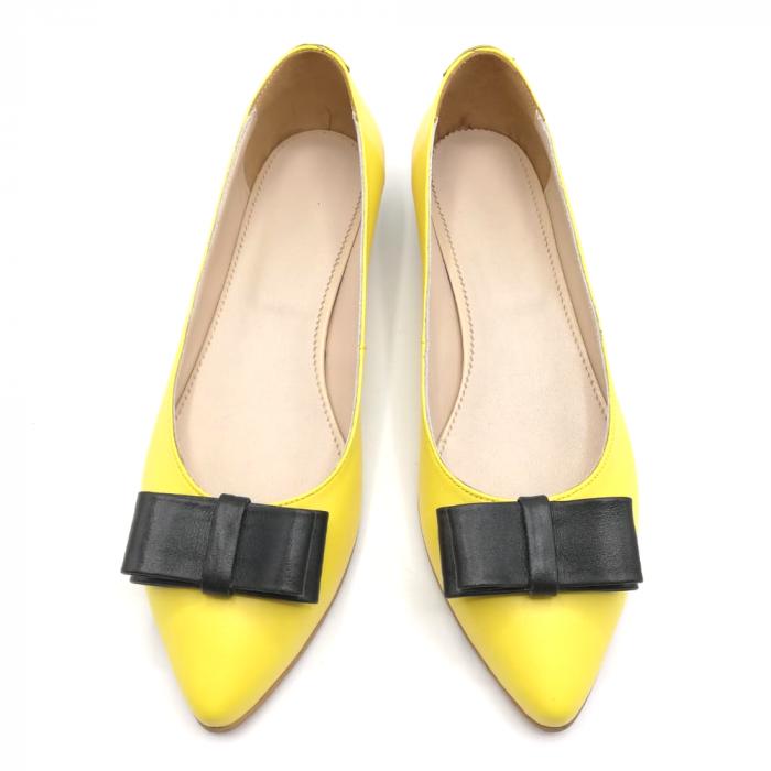 Balerini dama din piele Yellow Bow 2
