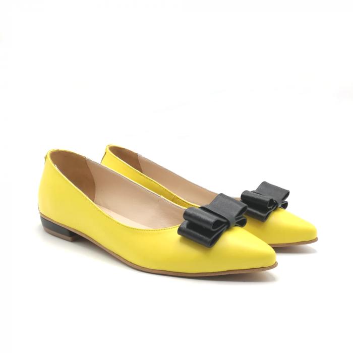 Balerini dama din piele Yellow Bow 1