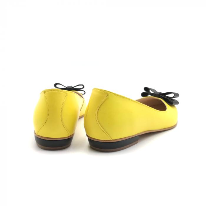 Balerini dama din piele Yellow Bow 3