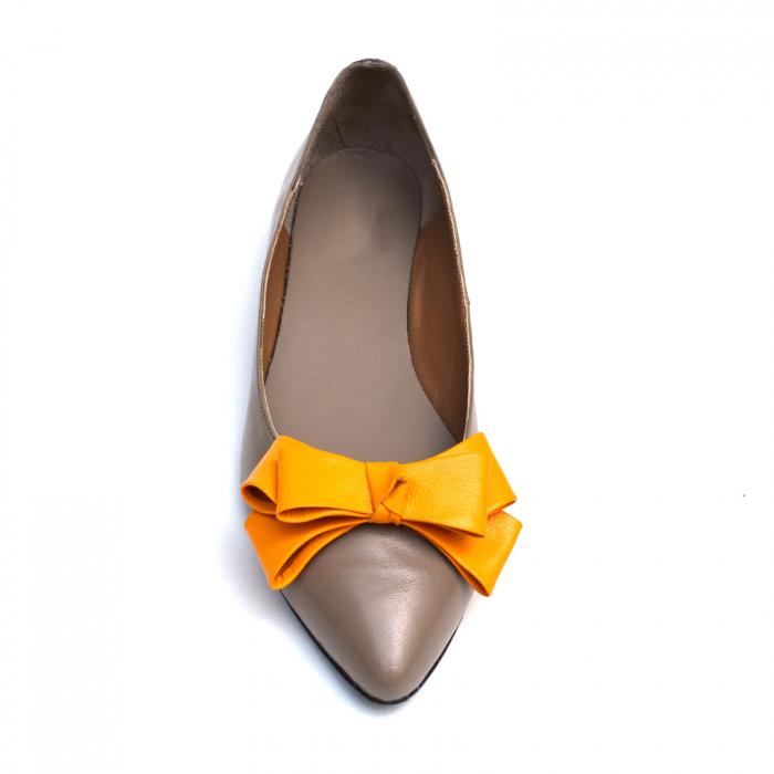 Balerini dama din piele Orange Bow 2